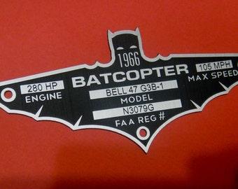 Custom 1966 BATCOPTER Serial Data Plate BATMAN TV Series Batmobile