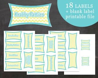 Spongebob Birthday Party Food Label Tent Cards Modern Chevron PDF