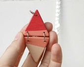Long Triangle Necklace Coral Geometric Necklace Color Blocking Minimal Jewelry