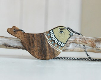 Wooden bird necklace,wood necklace,woodland necklace