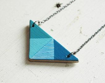 Blue triangle  necklace, geometric necklace, minimal necklace