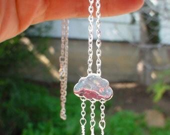 "18"" Mountain Rain Necklace,Silver Tone Cloud Rain Necklace,gift idea"