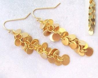 SALE Gold Disc Earrings, Gold Earrings, 14K gold filled, cascade, dangle earrings, round, prom, formal, bridal, weddings