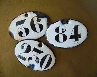 Vintage French Enamel Room Number Tag Sign Numbered Tags Oval Plaque Locker Tag Industrial Steampunk