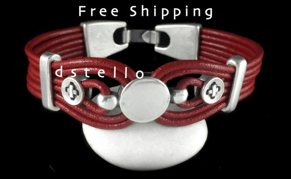 FREE SHIPPING - Leather bracelet, Mens jewelry, Womens cuff, Unisex bracelets, Gift for her, for him, Antiqued silver beads, Spanish leather