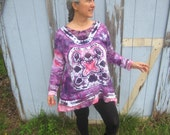 Tunic Style Shirt, Tie-dyed in Purple with Pink and White, Lightweight Cotton Jersey