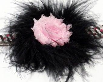 Baby Flapper Headband Black Feather Boa Pink Shabby Flower Headband Zebra Hearts FOE