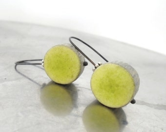 Green chartreuse and grey clay earrings modern minimal  disc round  eco friendly textured rustic, air dry clay. black sterling, faux ceramic