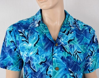 Vintage 1960's Men's Floral Royal Hawaiian Retro Cabana HiPsTeR Beach Surfer Shirt sIZE L