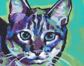 tabby Cat portrait art print of bright colorful pop art painting 8x8 by LEA