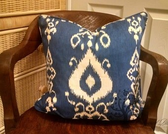 "Blue IKAT Bay - Pillow Cover - 18"" x 18"""