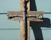 """Sale Large 22"""" Rustic Wood Cross Cypress Country Cottage Log Home  Wedding  Prayer Garden Church 100 Year Old Wood easter Primitive"""