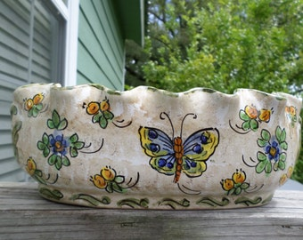 Antique Vintage Meiselman Italian  Majolica Bulb Bowl Vase New York Butterfly Flowers Marked Numbered G-876 Made in Italy