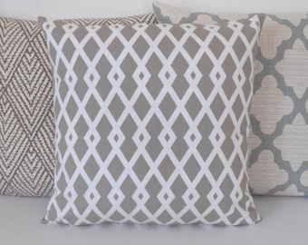 Beige and white geometric fret trellis decorative throw pillow cover