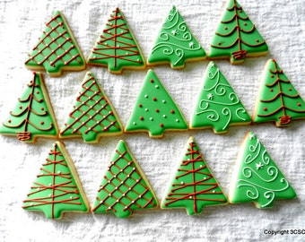 Small Christmas Tree cookies - Hand decorated holiday sugar cookies ( #2511)