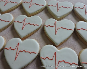ECG EKG Heartbeat Hand decorated sugar cookies (#2378)