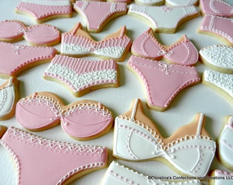 Hand Decorated Bra/Panty set Sugar Cookies for Bachelorette Parties, Bridal Showers, or Lingerie Parties (#2342)