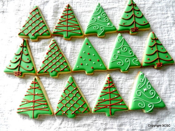 Small Christmas Tree Cookies Hand Decorated Holiday Sugar
