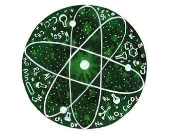 Science art Chemistry Original painting Atom Scientist gift