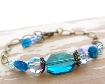 Blue Bracelet Apatite Gemstone Swarovski Crystal Jewelry Bronze Brass Ocean Blue Bridesmaid Bracelet Crystal Wedding Jewelry