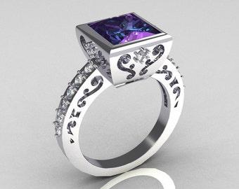 Classic Bridal 14K White Gold 2.5 Carat Square Princess Alexandrite White Sapphire Ring R309-14WGWSAL