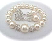 Pearl bracelet and earring set  ~ Chunky  ~ Crystal Rhinestones  ~ Elegant  ~ Brides set  ~ Bridal jewelry  ~ Bridesmaids  ~ LOLITA