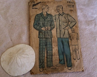 Vintage Antique Advance Men's Pajama Pattern - Mid Century Loungewear For Sewing, Make Your Own Clothes, Pajama Party, Sunday Morning