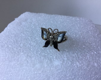 Ring, Onyx, Sterling Silver ,Vintage ,Size 7, NOW ON SALE