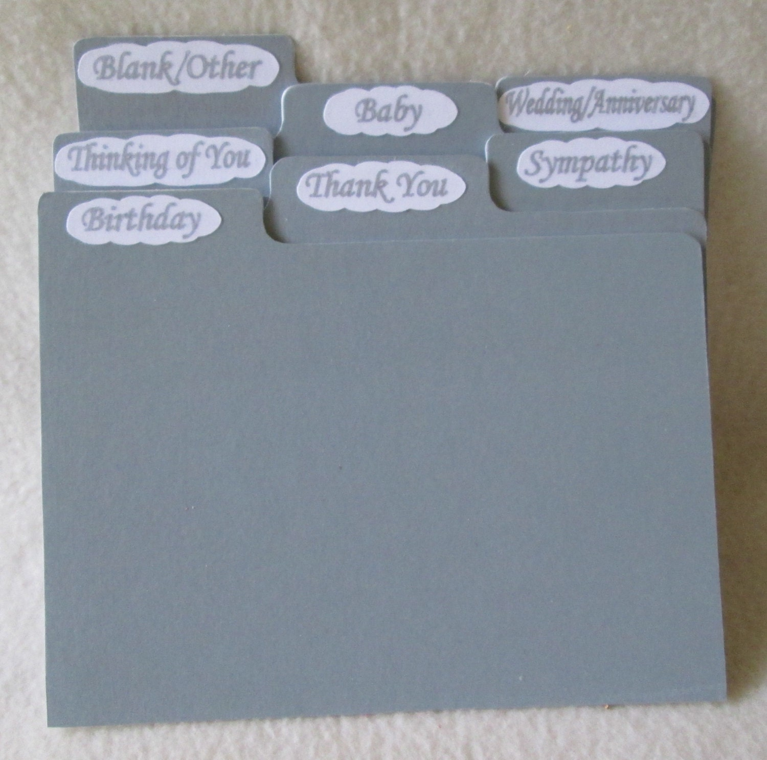 5x7 dividers for greeting card storage box or recipe box