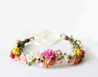 Spring Floral Crown, flower crown, Woodland, Spring, Bridal, floral, Hair Accessories, Bridal Headpiece, pink, Wedding - Emily