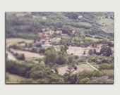 Umbria landscape fine art canvas print dreamy Italy photo large wall art home decor green brown village below gift for him scenic view