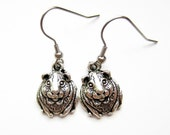Guinea Pig Drop Earrings, Silver Cute Cavy Earrings, Hypoallergenic Surgical Stainless Steel, Animal Lover Gift