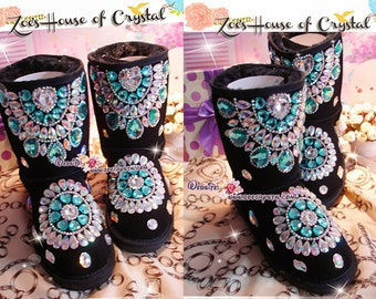 PROMOTION WINTER Black Sheepskin Fleech/Wool Boots with shinning and stylish CRYSTALS - New Flower Style