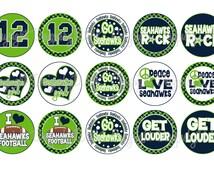 Seahawks FOOTBALL Blue & Lime School Spirit Bottle Cap Images 4x6 Printable Bottlecap Collage INSTANT DOWNLOAD