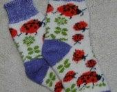 Traditional Knitted Wool Socks, Folk Art, Fair Isle Ladybugs and Flowers, size M