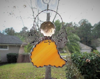 Stained Glass Angel Amber Swirled Opalescent Glass -  Ornament/Suncatcher with Tibetan Silver Hope Charm