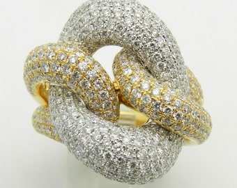 Diamond Love Knot Ring 18K White Yellow Gold 3.25 ct Size 6.75 F VS1