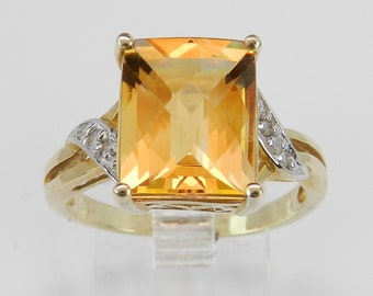 Diamond and Rectangular Checkerboard Citrine Engagement Promise Ring Yellow Gold Size 7