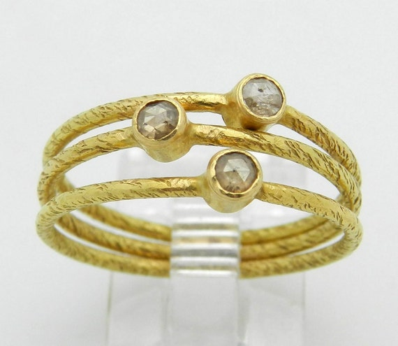 REDUCED Diamond Stackable 3 Ring Band Set 22K Yellow Gold Rose Cut Size 8.25