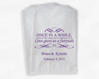 Wedding Favor Bags for Candy Buffet - Love Gives Us A Fairytale Purple Personalized Paper Treat Bags (0092)