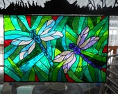 Dragonfly Stain Glass Cling  Specialized Window Art    MADE TO ORDER