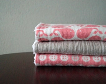 Boutique Burp Cloths - Baby Girl - Whales, Buttons & Woodgrain - Pink and Gray