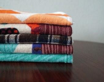 Baby Boy Wash Rags - Ties, Chevron & Plaid - Teal, Brown, Orange - Baby Gift