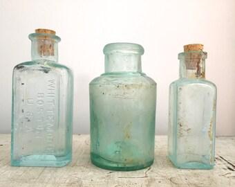 Vintage apothecary / medical Bottles - set of 3