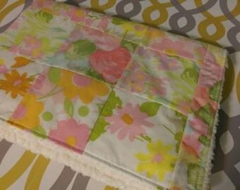 modern patchwork squares baby blanket vintage sheet heirloom keepsake quilt - flowerfull - pink, orange, white, green, yellow