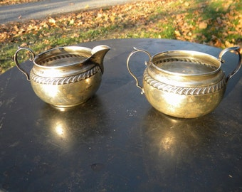 antique signed GORHAM STERLING SILVER scroll creamer and sugar
