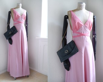 Vintage Maxi Dress Glamour Gown Pink Marilyn dress Pink dots