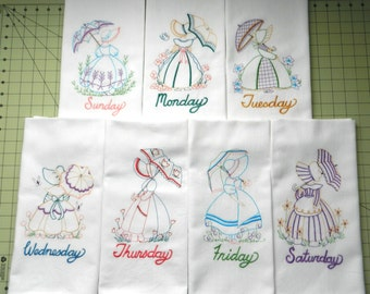 Umbrella Girls DOW - Ready to Ship - Set of 7 Vintage-Style Days-of-the-Week Embroidered Tea Towels - Umbrella Girls