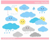 weather clip art,cloud clip art, sun clip art, rain clip art, Digital clip art JPEG, PNG format