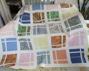 Hand quilted 73x73 throw quilt